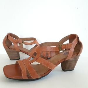 Indigo Clarks Orange Stacked Heel Sandals Sz 8.5